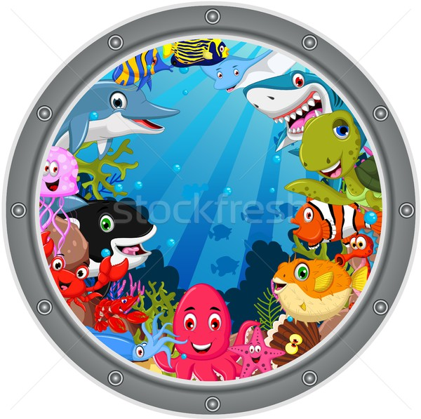 funny sea animals cartoon set in frame Stock photo © jawa123