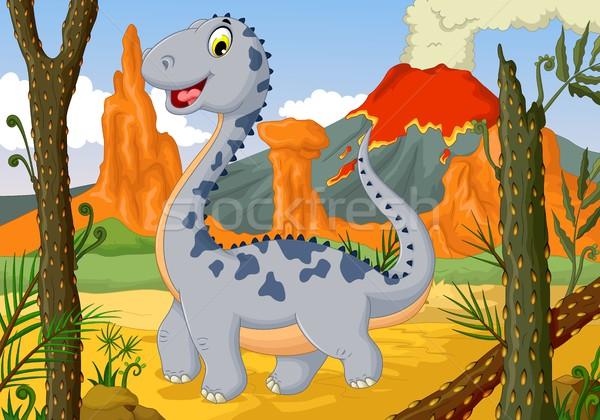 Vicces aranyos dinoszaurusz rajz dzsungel tájkép Stock fotó © jawa123