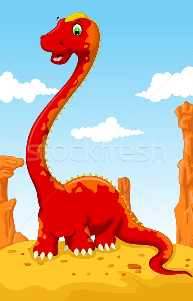 cute dinosaur cartoon with desert landscape background Stock photo © jawa123