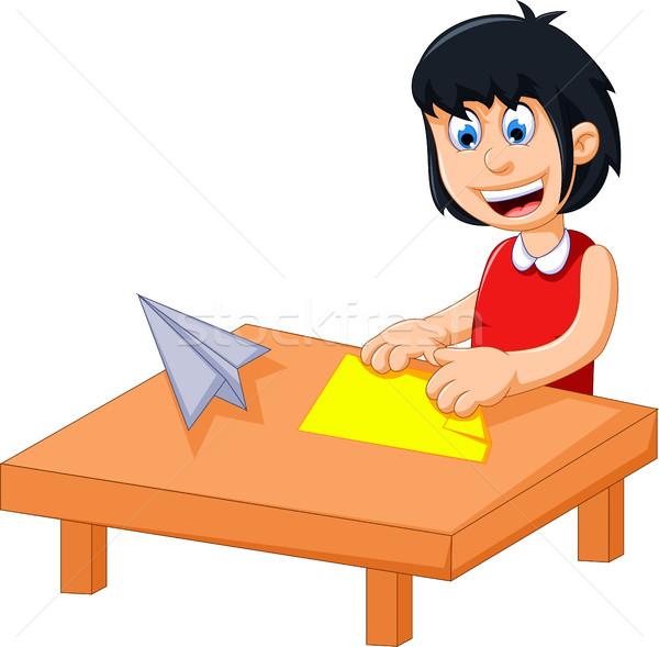 funny little girl cartoon playing folding paper Stock photo © jawa123