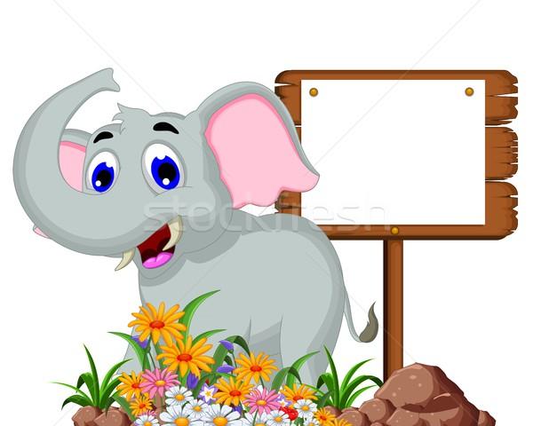 Cute elephant cartoon with blank sign Stock photo © jawa123