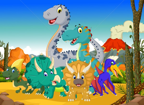 Engracado Dinossauro Desenho Animado Selva Paisagem