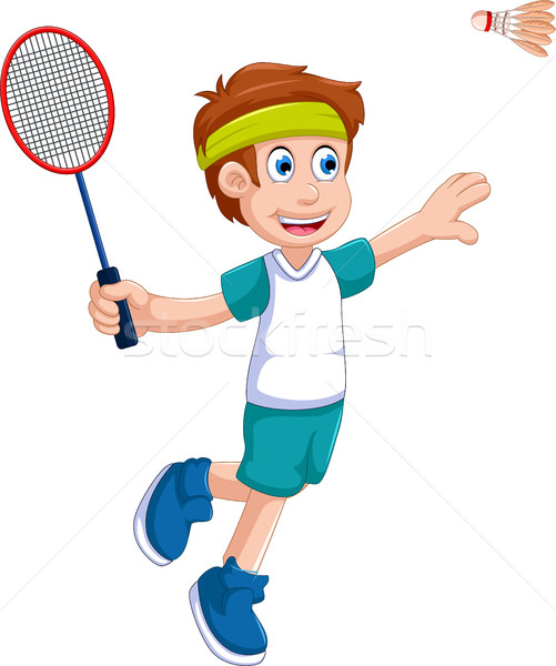 funny boy cartoon playing badminton Stock photo © jawa123