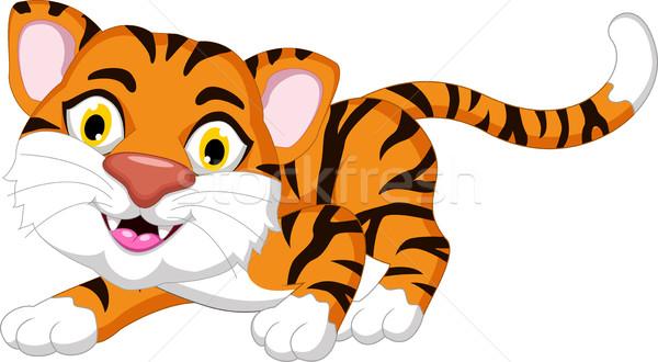 Cute tiger cartoon posing for you design Stock photo © jawa123