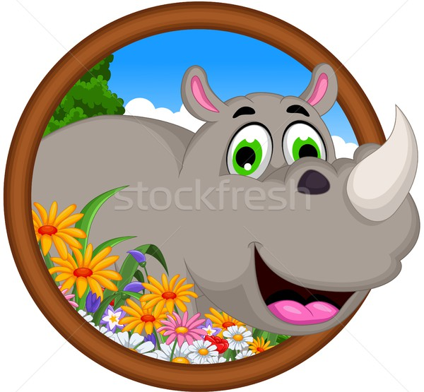 cute Cartoon rhino for you design Stock photo © jawa123