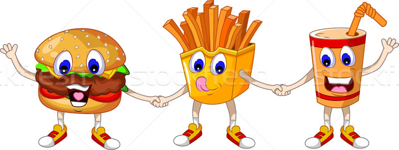cute junk food and soft drink cartoon Stock photo © jawa123