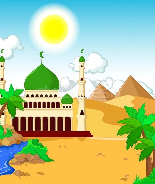 Belo mesquita deserto paisagem menina diversão Foto stock © jawa123