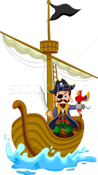 Funny pirata Cartoon buque árbol Foto stock © jawa123