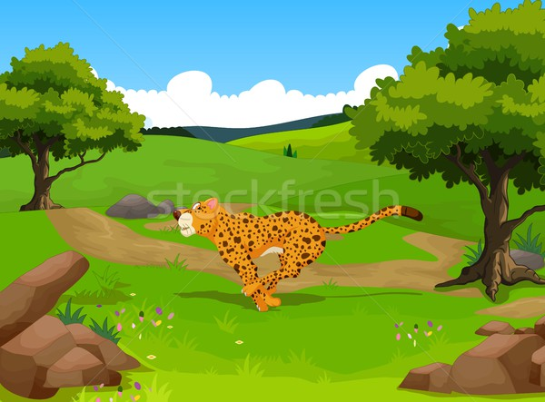 Grappig cheetah cartoon lopen bos landschap Stockfoto © jawa123