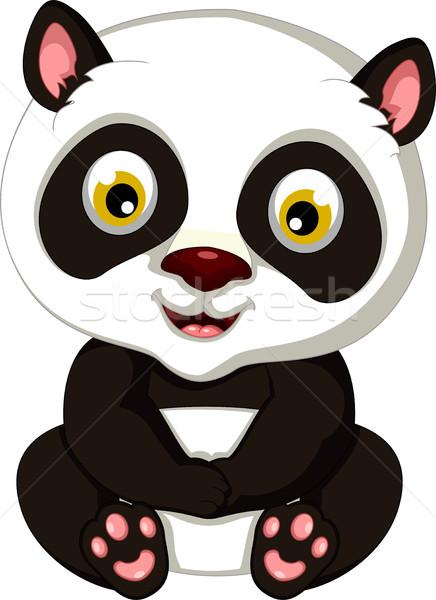 Panda rajz ül fekete fiatal medve Stock fotó © jawa123