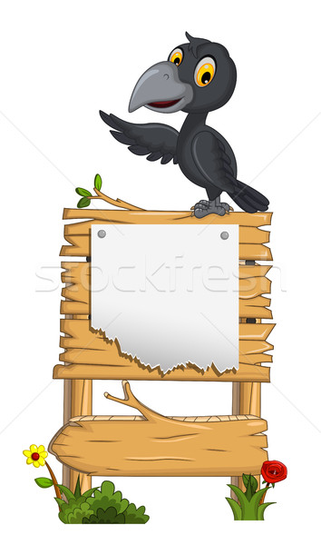 cartoon crow with blank board Stock photo © jawa123