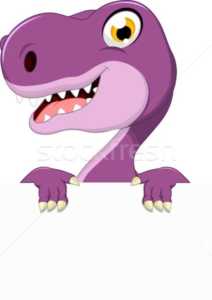 динозавр Cartoon улыбка книга счастливым Сток-фото © jawa123