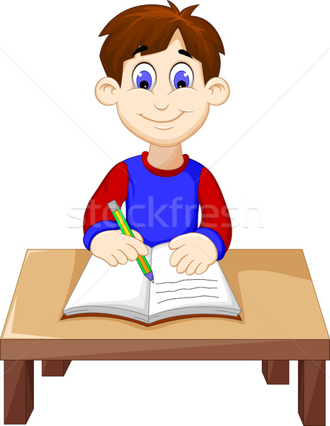 funny Boy cartoon writing above a desk Stock photo © jawa123