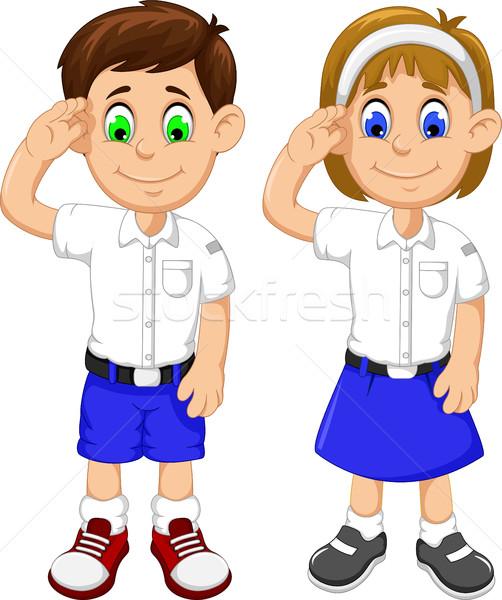 cute two students cartoon respectful Stock photo © jawa123