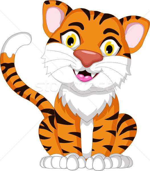 Cute tiger cartoon sitting Stock photo © jawa123