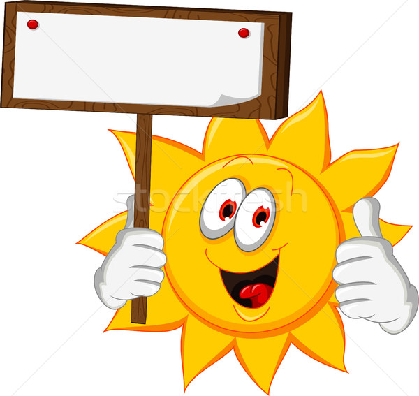 happy sun cartoon thumb up holding blank board Stock photo © jawa123