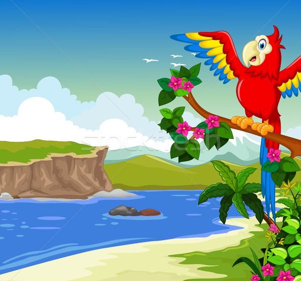 funny red parrot cartoon on a branch with lake background Stock photo © jawa123