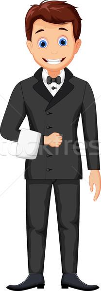 Aranyos hotel rajz sör munka férfiak Stock fotó © jawa123