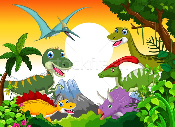 Dinosaur cartoon with landscape background for your design Stock photo © jawa123