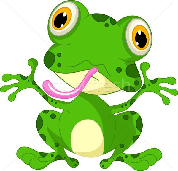 Stock photo: funny frog cartoon sitting