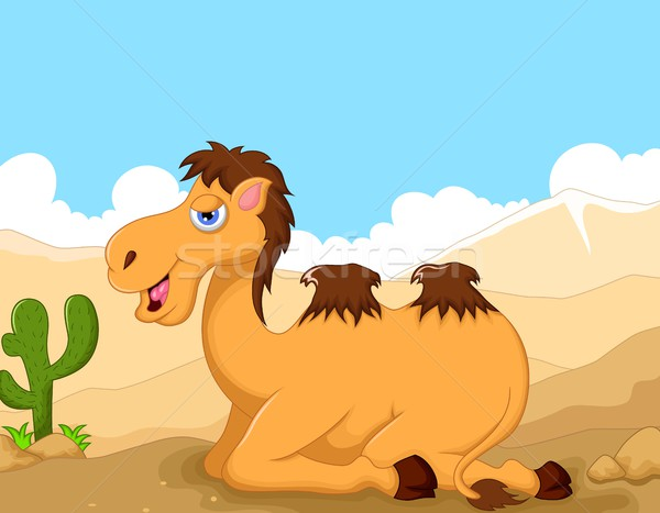 Vicces teve rajz ül sivatag tájkép Stock fotó © jawa123