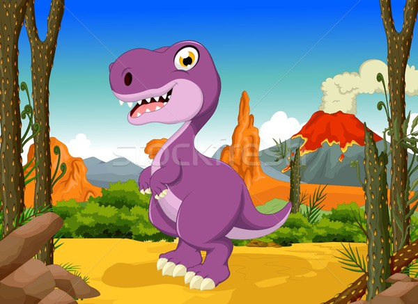 funny tyrannosaurs cartoon with forest landscape background Stock photo © jawa123