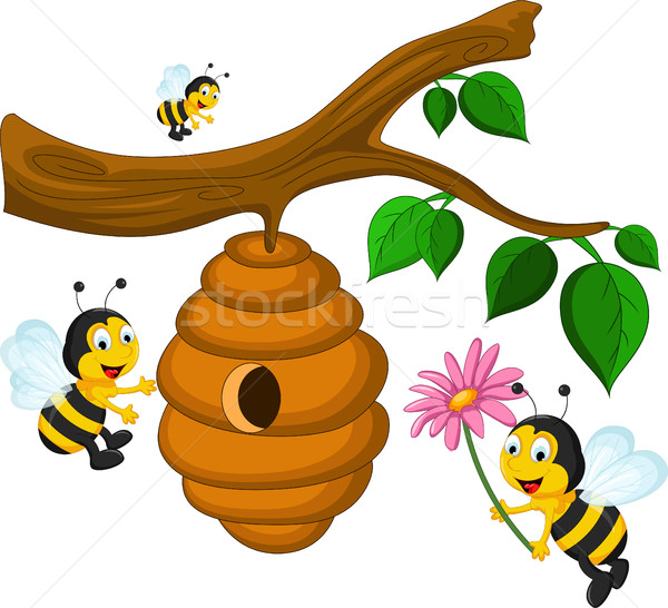 Bees cartoon holding flower and a beehive Stock photo © jawa123