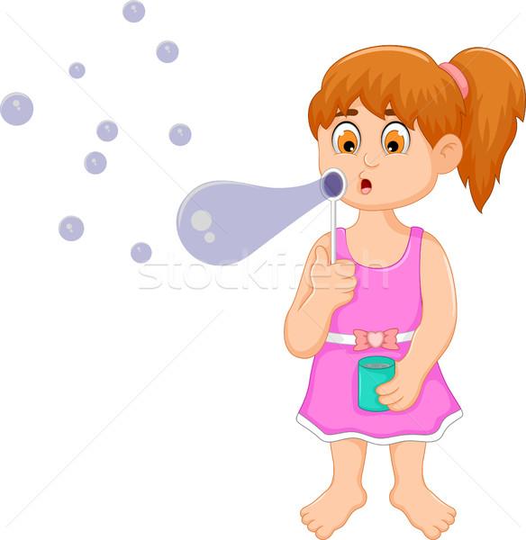 Stock fotó: Vicces · kislány · rajz · játszik · buborék · gyerekek