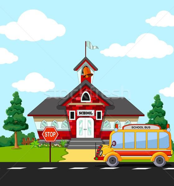 Szkoły budynku przystanek autobusowy miasta edukacji banderą Zdjęcia stock © jawa123
