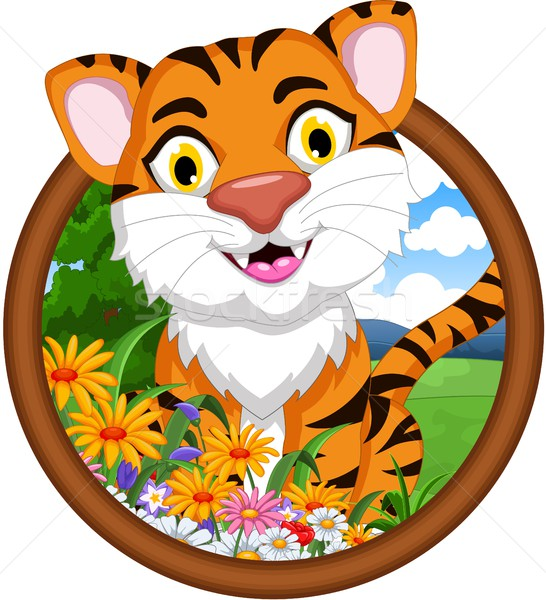 tiger cartoon in frame Stock photo © jawa123