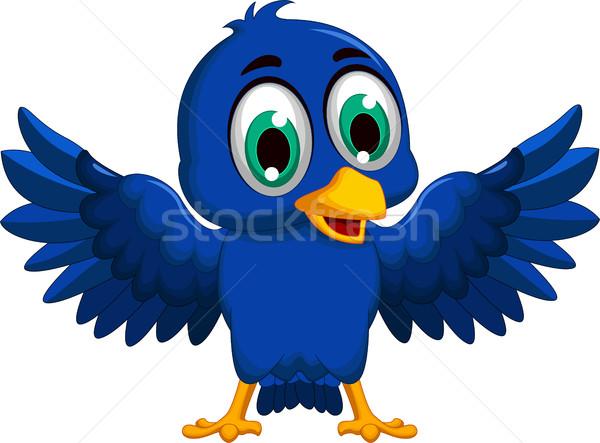 Aranyos kék madár rajz integet természet Stock fotó © jawa123