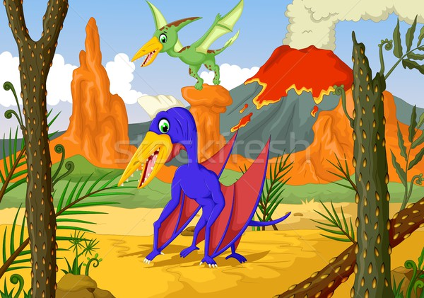 funny pterodactyl cartoon with forest landscape background Stock photo © jawa123