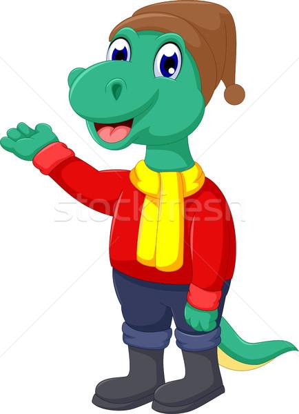 cute dinosaur cartoon waving Stock photo © jawa123