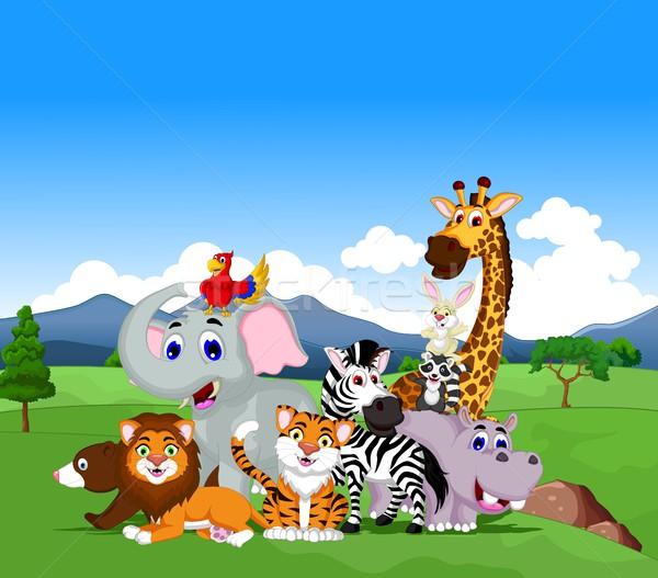 Vicces állat rajz gyűjtemény dzsungel boldog Stock fotó © jawa123
