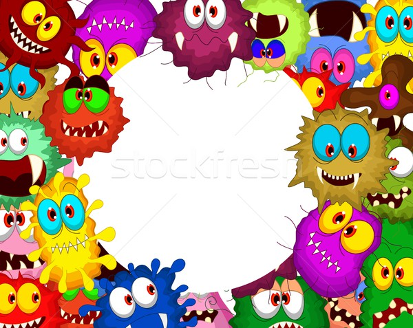 Stock photo: collection of Cartoon bacteria