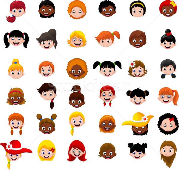 Szett rajz fej lányok mosoly arc Stock fotó © jawa123