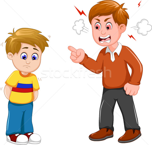cartoon Father scolding his son Stock photo © jawa123