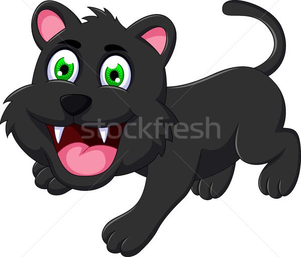 cute black cat cartoon Stock photo © jawa123