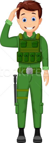 cute Army Cartoon respectful Stock photo © jawa123