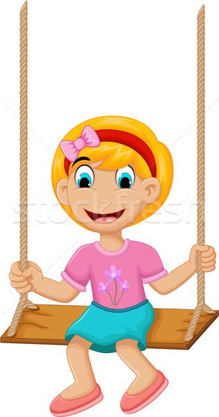 funny Little girl plying swing Stock photo © jawa123