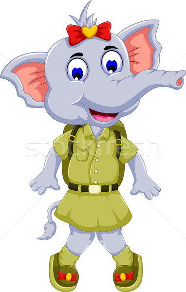 Divertente elefante cartoon safari uniforme felice Foto d'archivio © jawa123