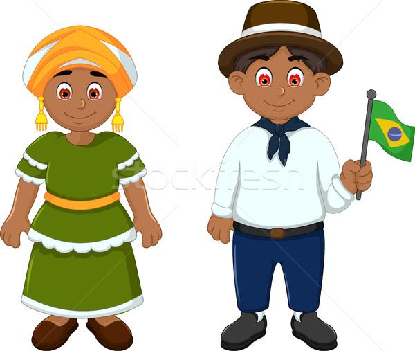 Cute Couple brazilians cartoon with National Clothes Stock photo © jawa123