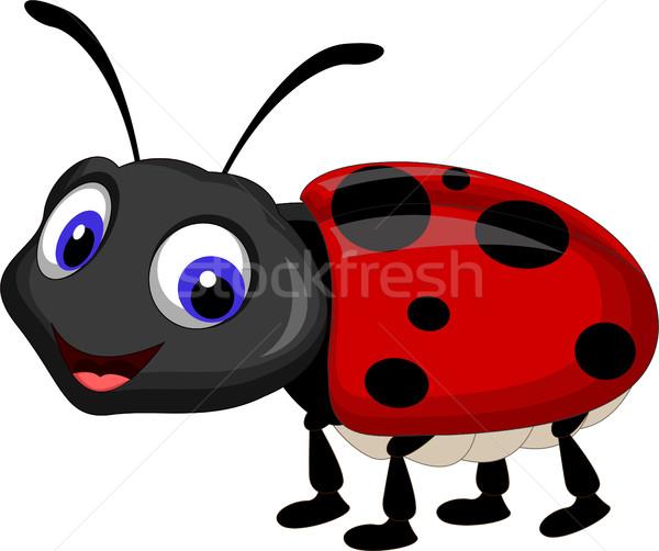 Sevimli uğur böceği karikatür yaprak kırmızı siyah Stok fotoğraf © jawa123