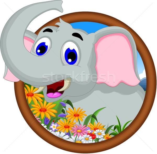 Elefante Cartoon marco flores nino selva Foto stock © jawa123