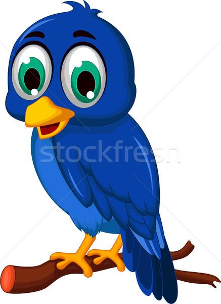 cute blue bird cartoon Stock photo © jawa123