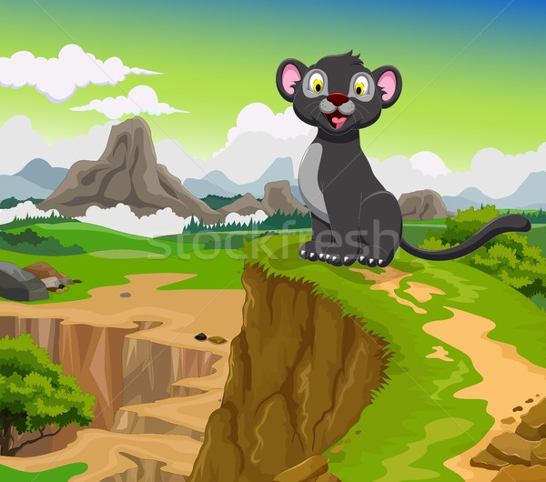 funny black panther cartoon with beauty mountain landscape background Stock photo © jawa123