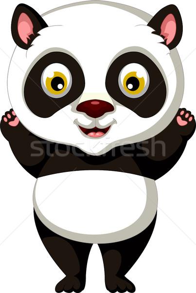 Felice panda cartoon posa nero giovani Foto d'archivio © jawa123