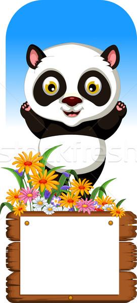 Panda cartoon bordo baby felice bambino Foto d'archivio © jawa123