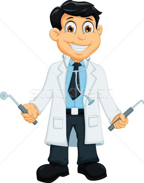 cute Dentist cartoon holding dentist tools Stock photo © jawa123