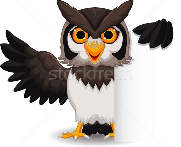 Cute owl cartoon posing with blank sign Stock photo © jawa123